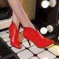 Женская Искусственной Кожи Комфортно Лодыжки Сапоги Платформа Высокий Каблук Ботинки для Женщин Мода Zip Зима Платье Обувь Черный Красный Коричневый