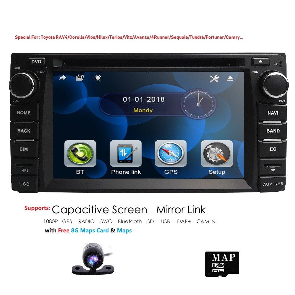 Hizpo 2DIN радио gps dvd плеер автомобиля универсальный для Toyota RAV4 CAMRY эхо YARIS HIACE AURIS Bluetooth Сенсорный Экран Зеркало Ссылка