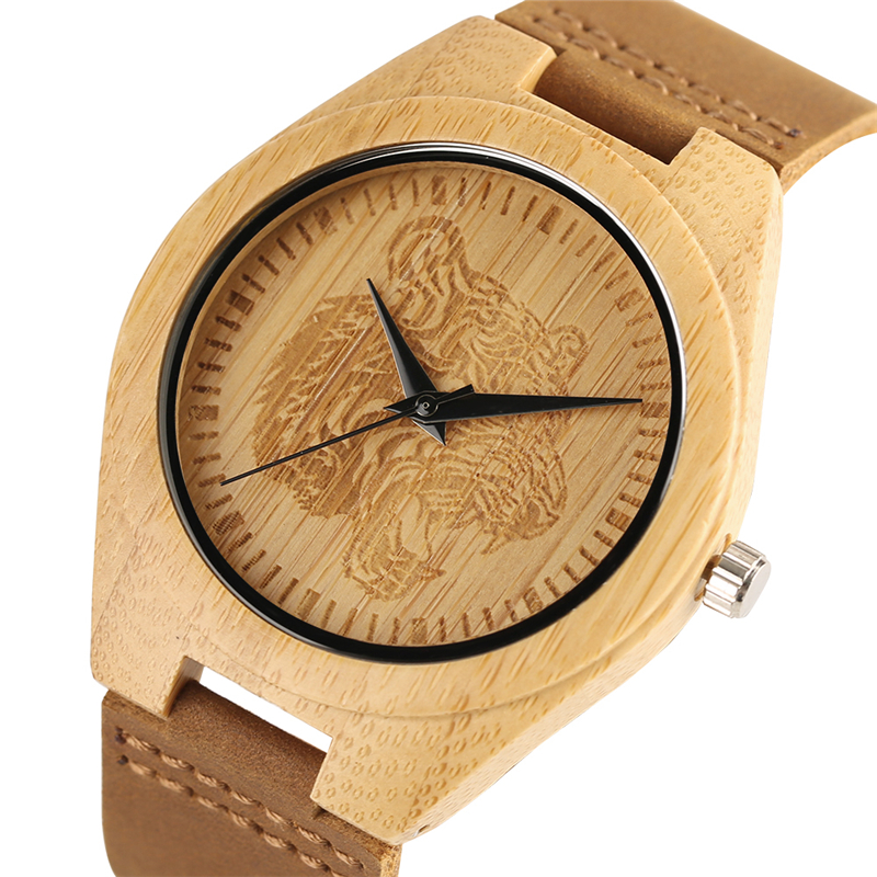 Tiger Head/Dragon Carving Dial Wood Bamboo Creative Watches Men Casual Handmade Wooden Wristwatch Mens Sport Analog Clock Gift