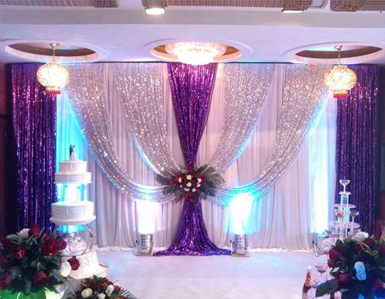 Free Shipping by air express Shiny purple with silver wedding backdrop romantic stage curtain