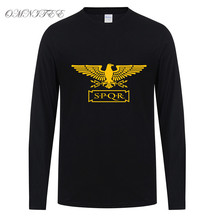 Omnitee Long Sleeve SPQR Men T Shirt Tops Cotton Fashion Eagle banner Roman Empire T-shirt Full Sleeve Roman Gladiator Tops