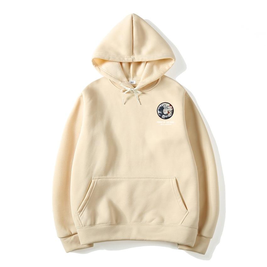 Japanese Funny Cat Wave Fleece Hoodies Winter Style Hip Hop men/women Printed hoodie Casual printing Sweatshirts Streetwear 3
