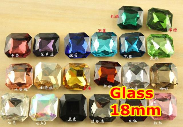 27 Colores para la Opción 90 unids/lote 18mm Pointback cristal Clásico Cuadrado Fat Crystal Fancy Stone Para la Joyería