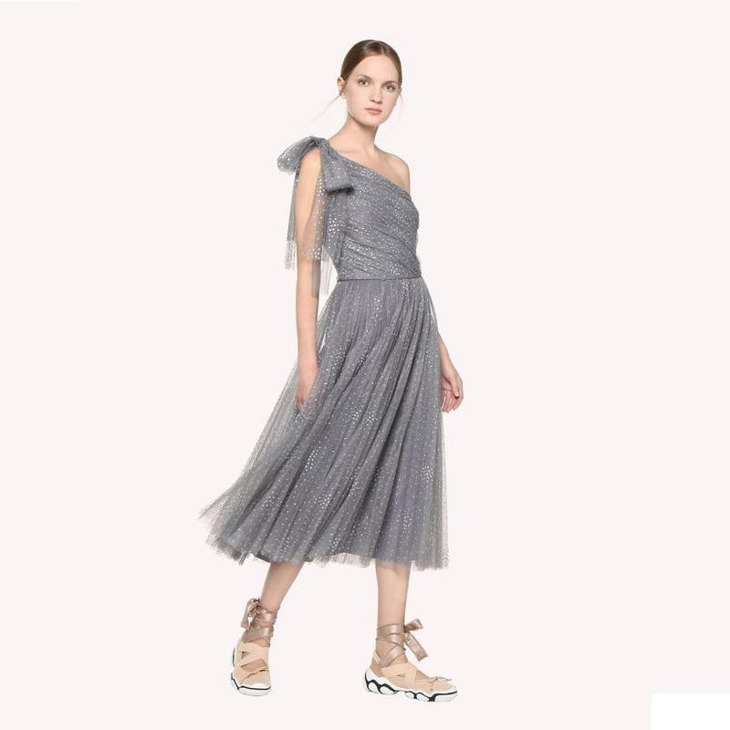 2019 Summer Slant Shoulder Mesh Dots Pleated Dress Party Dress 190412XM01