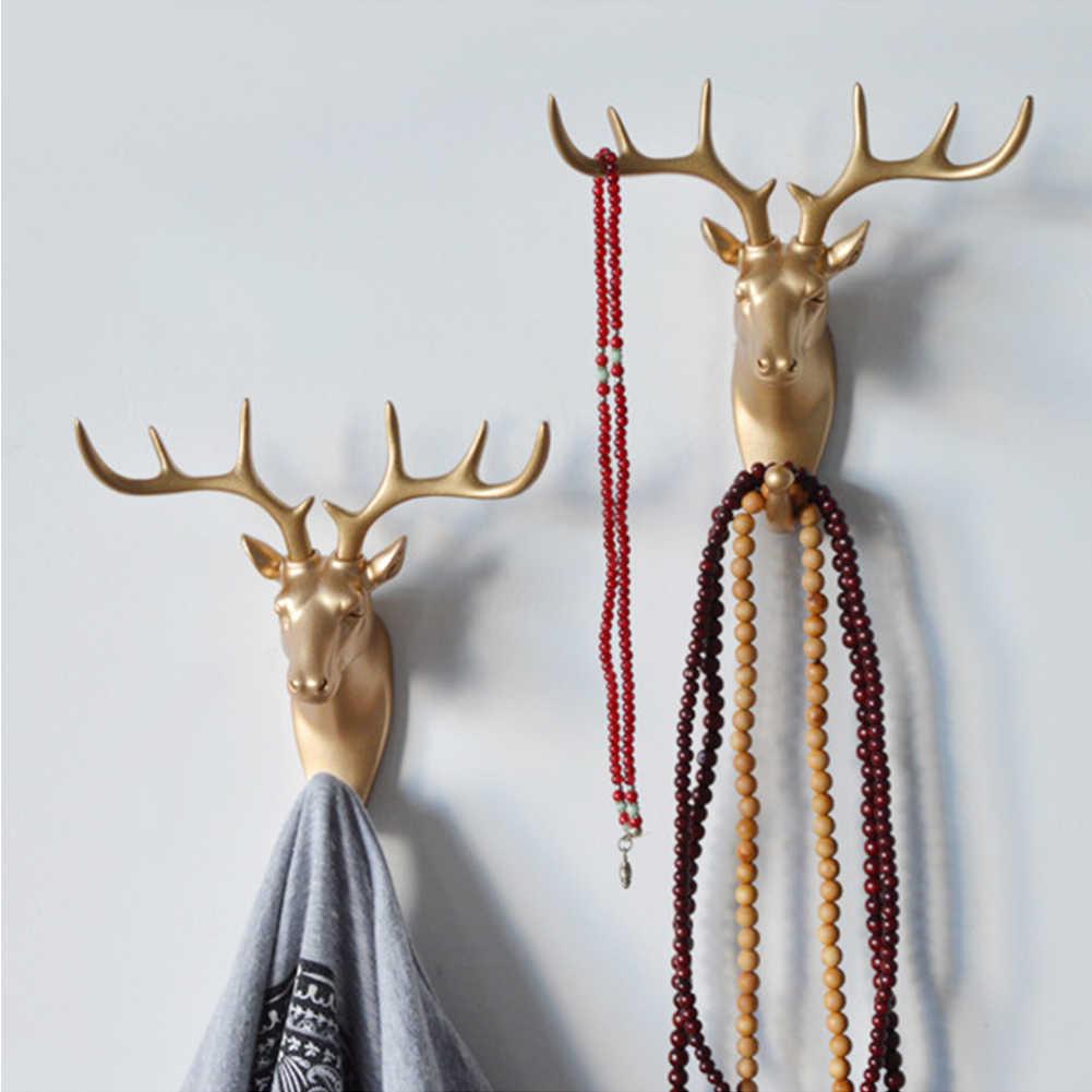 クリエイティブ 3D 壁ハンガー装飾動物ドアフック装飾コートフック樹脂フック鹿サイの象キリン馬デコレーション