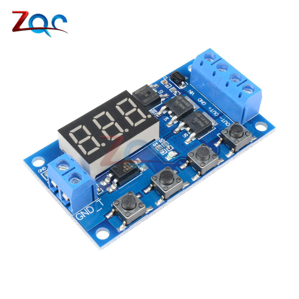 12v 110v 220v Dual Led Display Digital Time Delay Relay Module Thermostat Timer Circuit Electronic Projects Trigger Cycle Timing Switch Mos Tube Control Board 24v