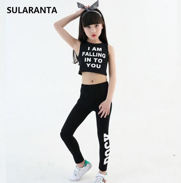 Los niños Slim Hip Hop ropa Ropa de baile traje para niñas cultivo tanque  Tops polainas 14c7814b106