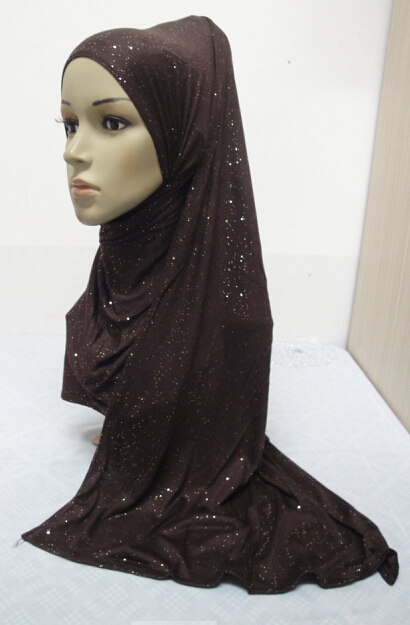 H863 new style big size soft cotton jersey glitter muslim long scarf fast delivery