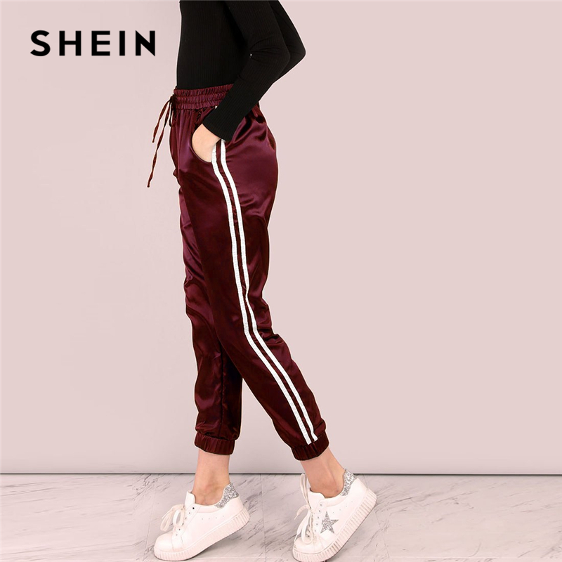 SHEIN Burgundy Side Striped Satin Trainer Drawstring Waist Mid Waist Sweatpants Joggers Autumn Modern Lady Women Trousers