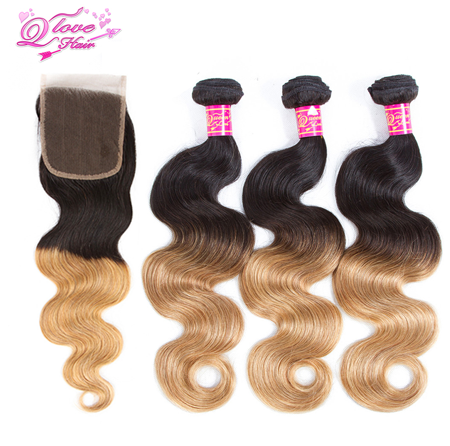 Queen Love Hair Brazilian Body Wave 100% Human Hairr Ombre 2 Tone 1B/27 Hair 3Bundles With Closure Non Remy Hair