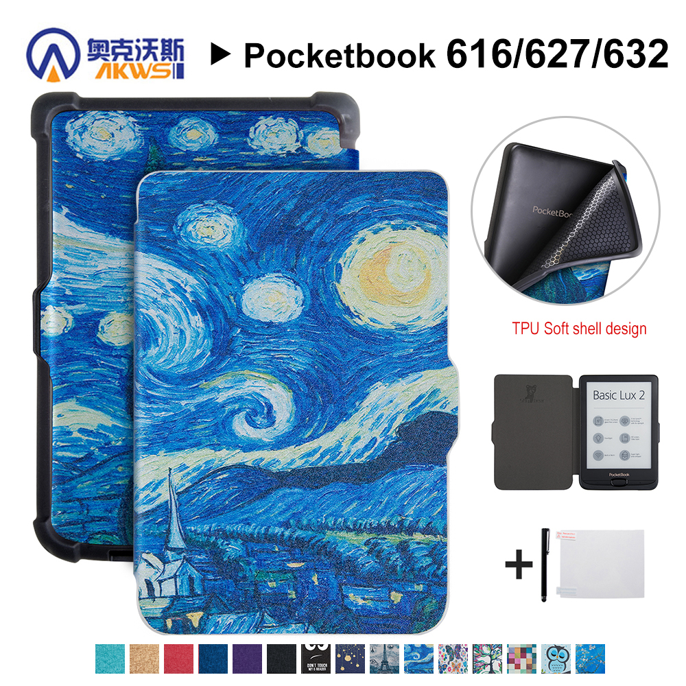 Walkers Cover for Pocketbook 616/627/632 Ereader Silk Printing Case for Pocketbook Basic Lux 2/touch Lux/touch HD 3+gift e reader case for pocketbook touch hd case cover coque shell funda hulle custodie