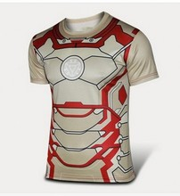 2016 the high quality of men's health hero comic avengers T-shirt shirt amazing compression tights men outdoor fitness clothing