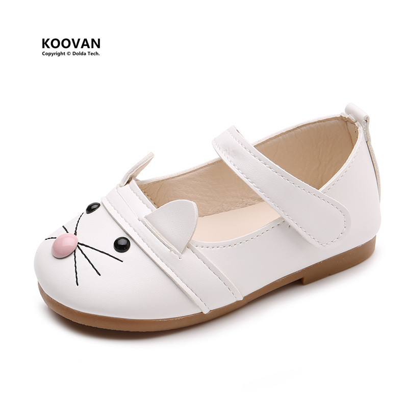 Koovan Children's Shoes Autumn 2017 New Boys Girls Leather Flats Magic Casual Shoes Cats Soft Leather Princess Dance