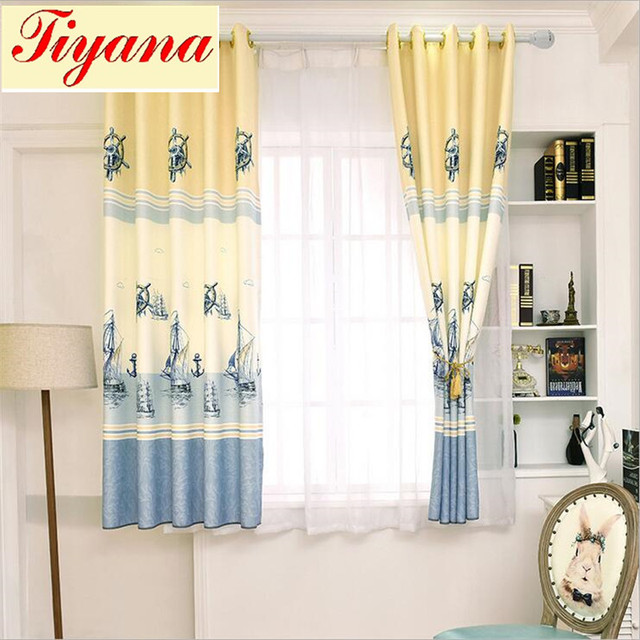 Rustic cotton printed short curtains Curtain kid bedroom living ...