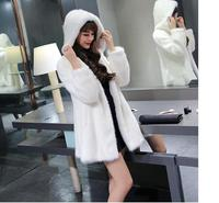 2017 autumn and winter fashion temperament imitation mink coat thicker hooded long section of Korean fur coat female