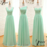 B024 Real Photo Mint With Pleat Zipper Long Chiffon Evening Dresses Vestido De Noche