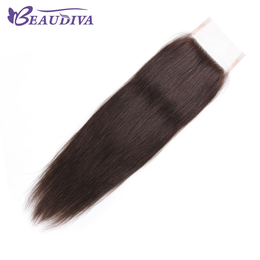 BEAUDIVA Brazilian Straight Hair 2# Lace Closure 4*4 Free Part Closure 100% Human Hair Shipping Free
