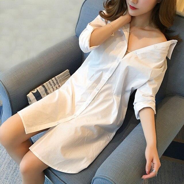 935bcfc01e6 Spring Autumn Midi Long Women White Blouse Plus Size 5XL Tops Sexy Loose BF  Blouses Ladies Long Sleeve Shirt Office Blusas AB728