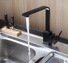 Бесплатная Доставка! Полный меди черный краска современная кухня раковина кран горячей и холодной простой квадрат может поворачиваться на 1 шт./лот
