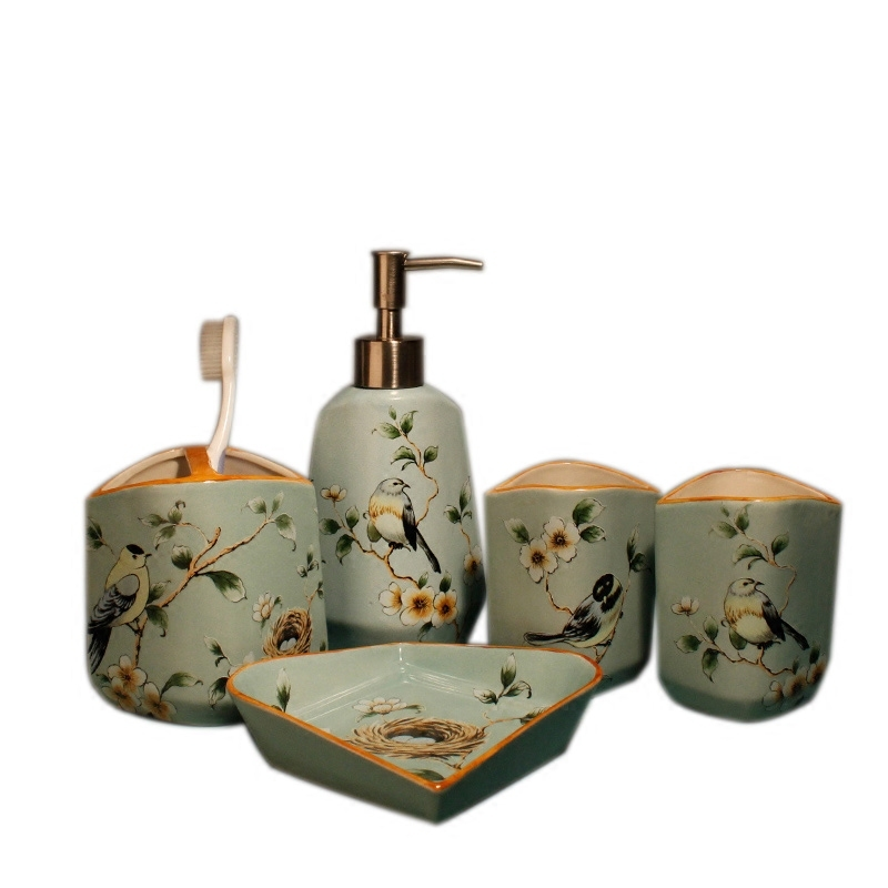 European exquisite fashion ceramic bathroom set bathroom accessories 5pcs/ ceramic toothbrush holder soap dish bathroom products