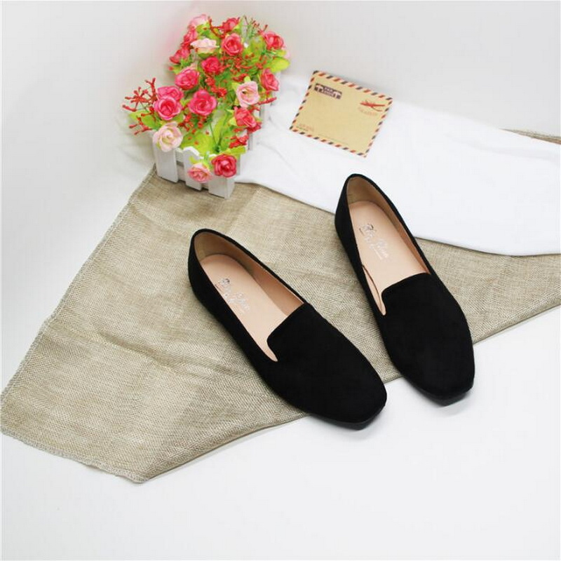 Spring and summer new retro square head work shoes female black flat shoes large size 41-43 small size 31-32
