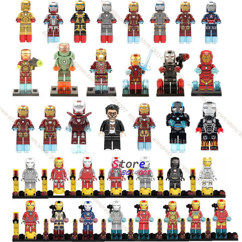 Single Marvel Avengers Iron Man Armor collectable figure Tony Stark War Machine Patriot building blocks bricks toys for children