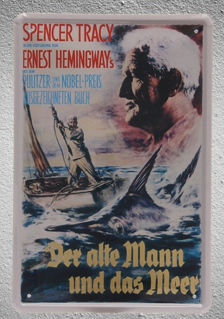 1 piece Movie Spencer tracy Fishing The Old Man and the Sea Tin Plate Sign wall cave Decoration Art Poster metal vintage home
