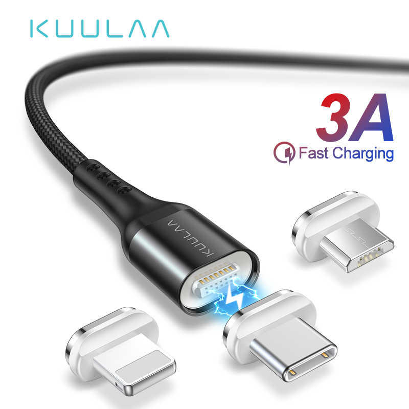 KUULAA Magnetic Cable Micro USB C Quick Charge Adapter For iPhone Xiaomi Huawei Charger Magnet Fast Charging USB Type C USB Cord