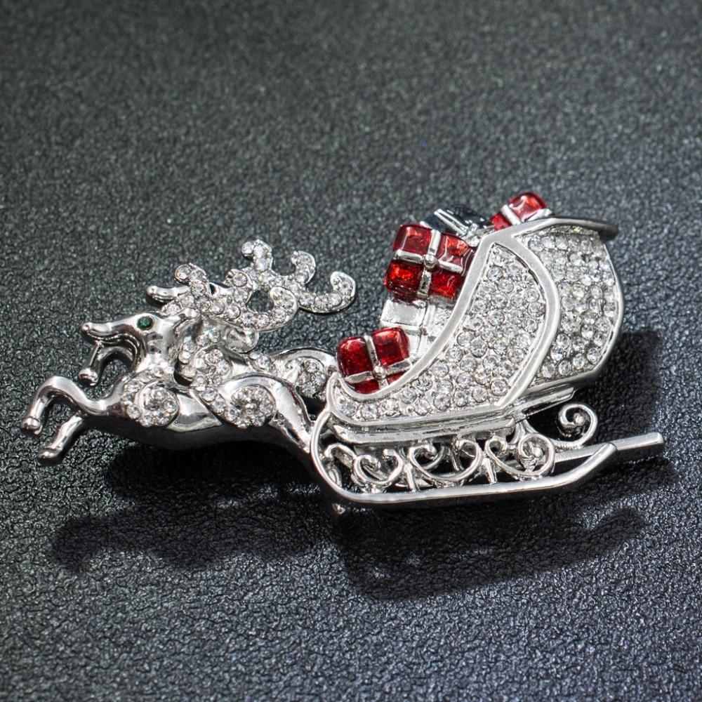 Silver Tone Crystal Rhinestone Christmas Deer Gift Sled Brooch Broach Women Dress Pin Xmas Party Jewelry FA5072SIL
