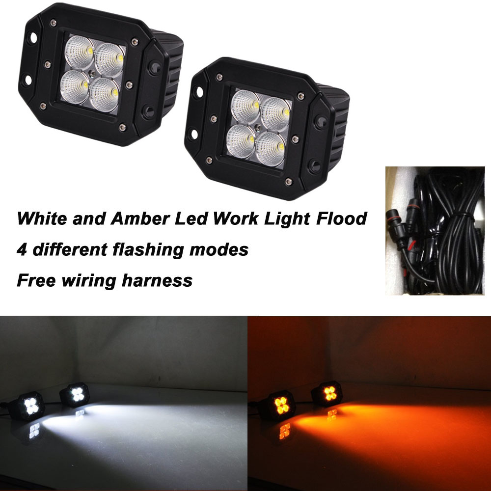 Honzdda 4 Inch Flush Mount Amber White Led Work Light 12V 9 Flashing Modes  Offroad Truck 12V Flush Mount Fog Light Wire Harness