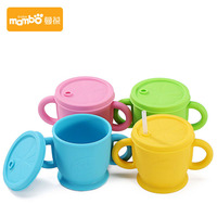300ml Silicone Baby Food Milk Straw Water Cup Two Hand Holder Infant Bottle Leak Proof Drink