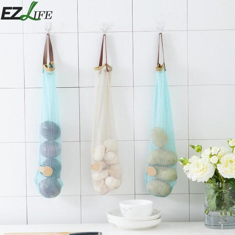 Home Organizer Garbage Bag Hanging Mesh Net Holder Garlic Onion Storage Breathable Bag for Potato Onions Green Pepper Garlic Bag