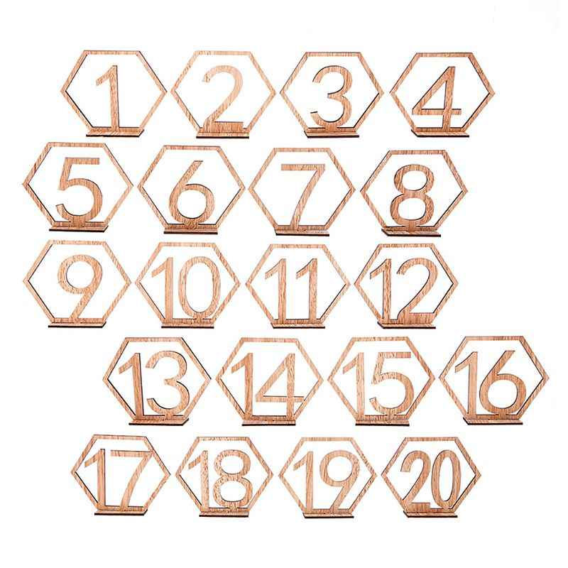 10pc 1-10/11-20 Number Wooden Table Numbers Set with Base Birthday Wedding Party Decor Gifts