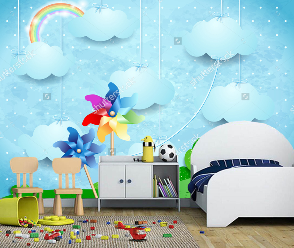 Children Wallpaper, Surreal landscape with pinwheels and hanging clouds, Photo Mural for Boy and Girl Room Background wall paper surreal house
