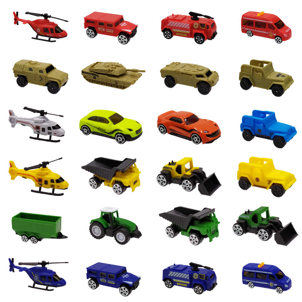 Urtoypia Diecast Car Toys 1:64 Construction Vehicle Model Fire Truck Ambulance Aircraft Plane Tractor Sports Car Toy for Boys