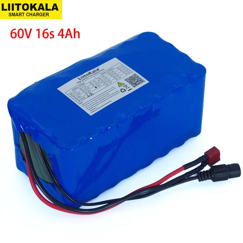LiitoKala 60V 16S2P 67.2V 4A 18650 Battery Pack Li-Ion 4000mAh Ebike Electric Bicycle Scooter with 20A discharge BMS 1000 WattLiitoKala 60V 16S2P 67.2V 4A 18650 Battery Pack Li-Ion 4000mAh Ebike Electric Bicycle Scooter with 20A discharge BMS 1000 Watt