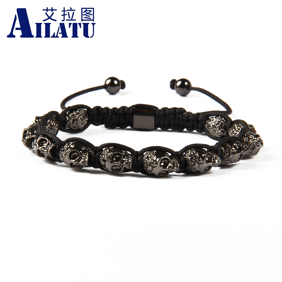 Ailatu Brand Jewelry Wholesale 10pcs lot Exquisite Black Rose Skull Macrame Bracelet for Men s Party