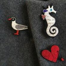DIY Высокое качество 3D ручной вышитые значки Чайка/кровотечение повязка на руку с сердцем аппликация для пальто брюки сумка брошь