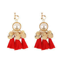 Bohemian Long Luxury Simulated Pearl Tassel Dangle Clip On Earrings For Women No Pierced Ear Clip Best Selling 2018 Products(China)