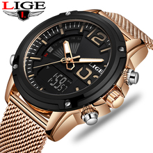 2019 LIGE New Watch Top Luxury Brand Stainless Steel Sports Men Military Dual Display Waterproof Watches Relogio Masculino