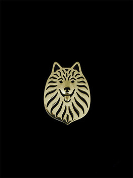 Broches de animales de Spitz Alemán bonito de alta calidad bañados en plata broches joyería de moda 1 piezas