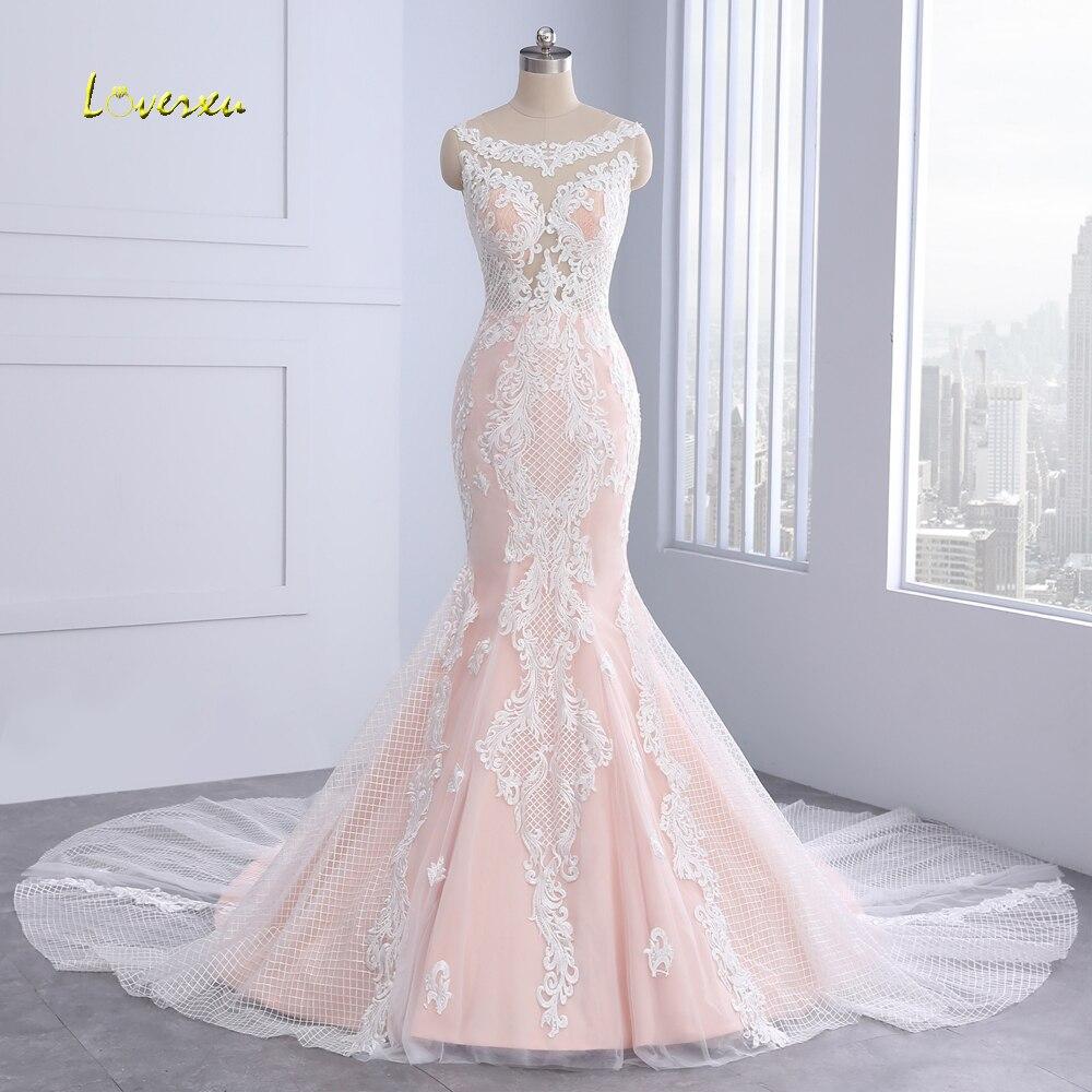 Loverxu Vestido De Noiva Button Lace Mermaid Wedding
