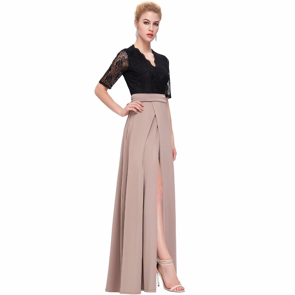 Grace Karin Floor Length Maxi Dress Sexy V Neck Black Lace Women Long Dresses Half Sleeve