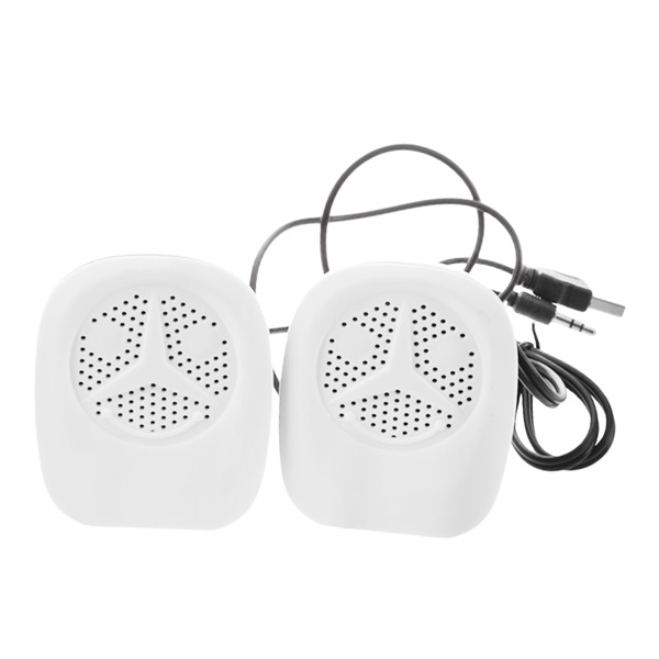 E1800 2pcs Mini USB Portable Stereo Music Player Speakers for MP3 Laptop PC iPod Black