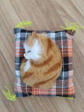 mini Simulation sleeping cat polyethylene&furs yellow cat model funny gift about 10cm