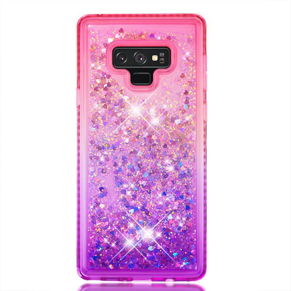 Quicksand Back cover For Samsung Note9 S9 S8 Plus Glitter Start Phone Case For Galaxy A6 A8 Plus 2018 change Soft Phone Shell in Half wrapped Cases from Cellphones Telecommunications