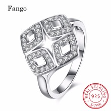 Fango Brand New Arrival Square Zircon Silver Ring Fashion Pure 925 Sterling Silver Geometric Wedding Bands Rings Women Jewelry