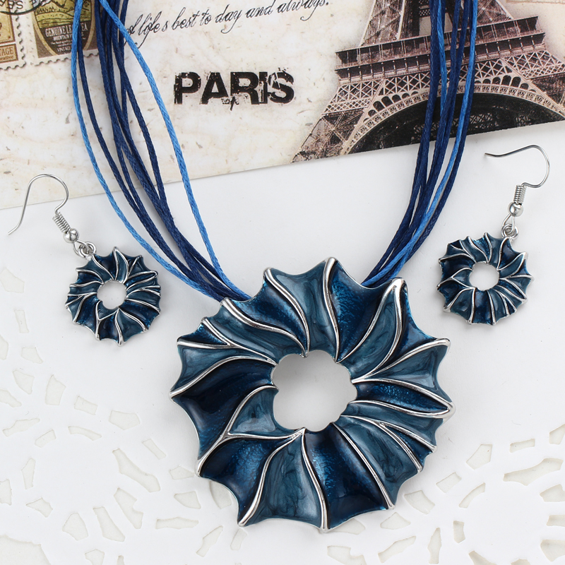ZOSHI 2017 Jewelry sets Factory price Colorful Gem Flower Pendant necklace Drop Earrings Leather Rope Chain set jewelry set