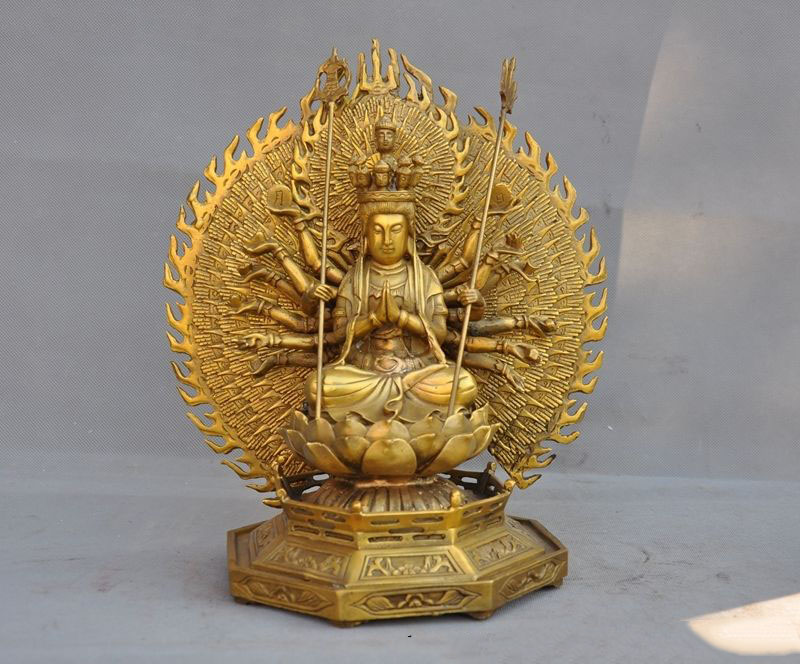 christmas 11Tibet buddhism brass 1000 arms kwan yin GuanYin buddha lotus goddess statue halloween