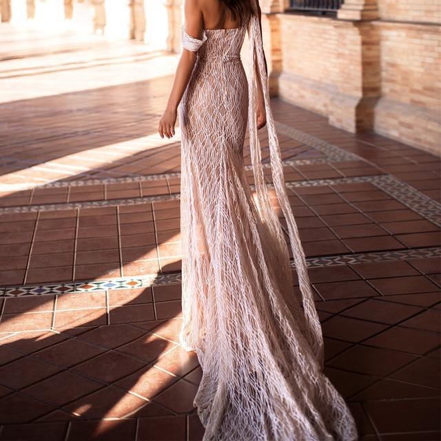 Missord 2019 Women Sexy Irregular Neck Off Shoulder High Split Dresses Female Glitter Elegant Maxi Dress   FT19562 1